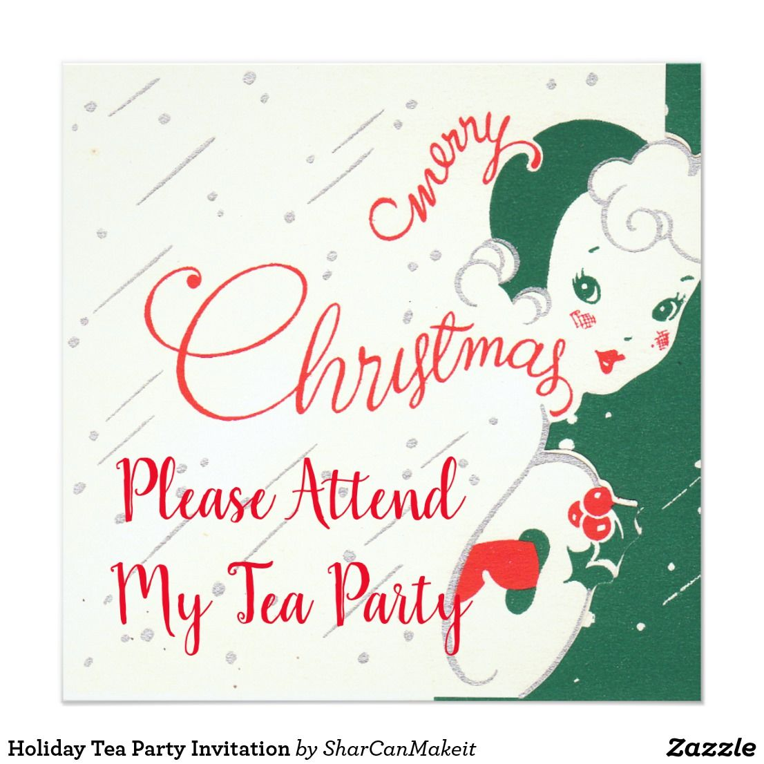 Holiday tea party invitation pinterest holiday tea party invitation stopboris Images