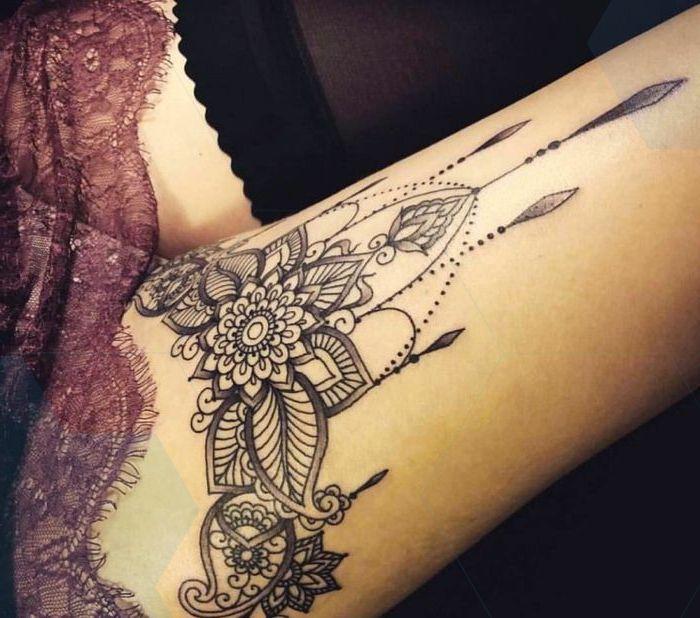 Tattoo On The Thigh Mandala Leg Tattoo Tattoo Motifs For Women Leg Mandala Motifs Tattoo Thigh Women Leg Tattoos Thigh Tattoos Women Thigh Tattoo