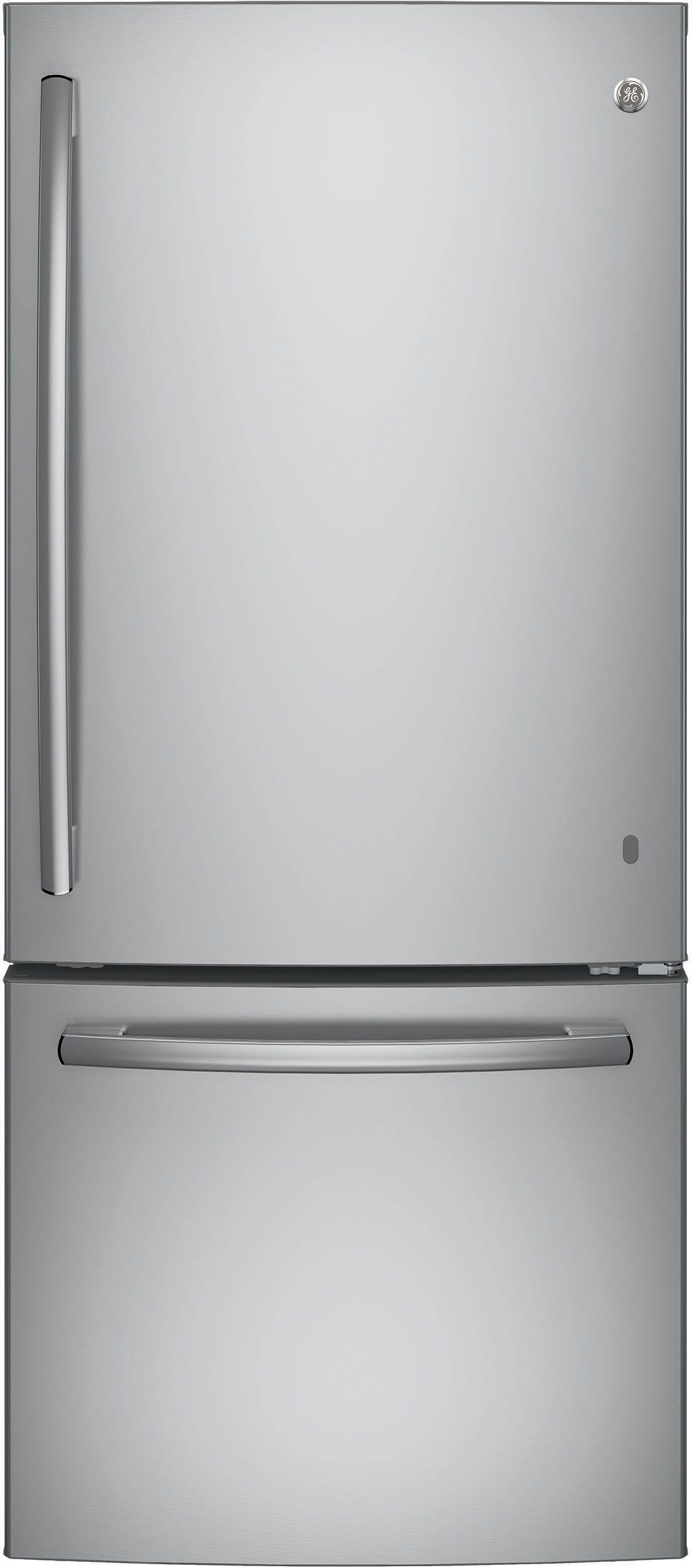 Ge Gbe21dskss 30 Inch Bottom Freezer Refrigerator With 20 9 Cu Ft Capacity Led Lighting 2 Ad Bottom Freezer Refrigerator Bottom Freezer Adjustable Shelving