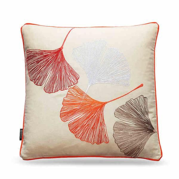 Orange leaves embroidered square pillows large sofa pillows back ...