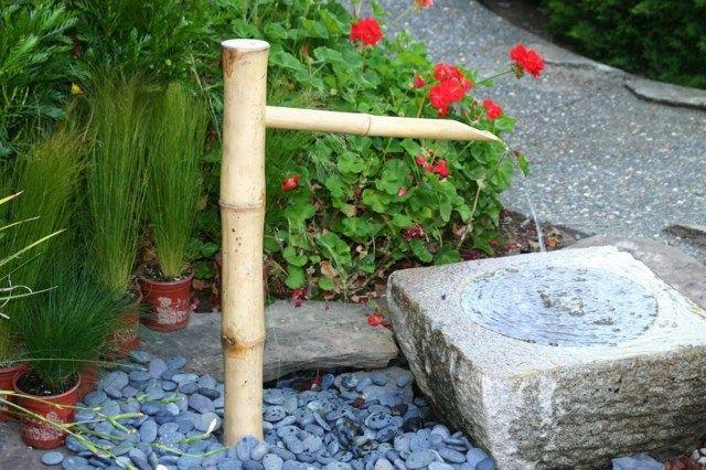 Bambus Garten Brunnen Selber Bauen Kies Steinbecken