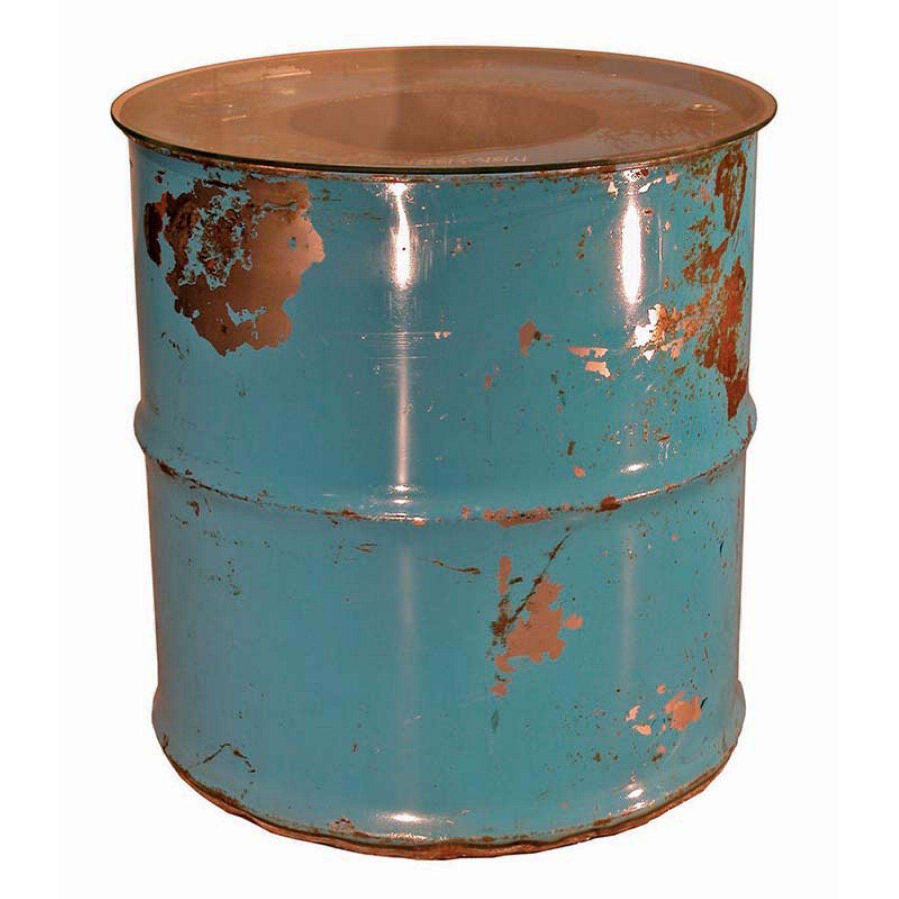 Groovystuff Moonshine Barrel End Table With Glass Top   TF 0997 24 BU
