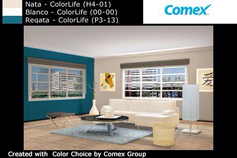 Prueba de color creada por la app colorchoise de comex for Mejores apps de diseno de interiores