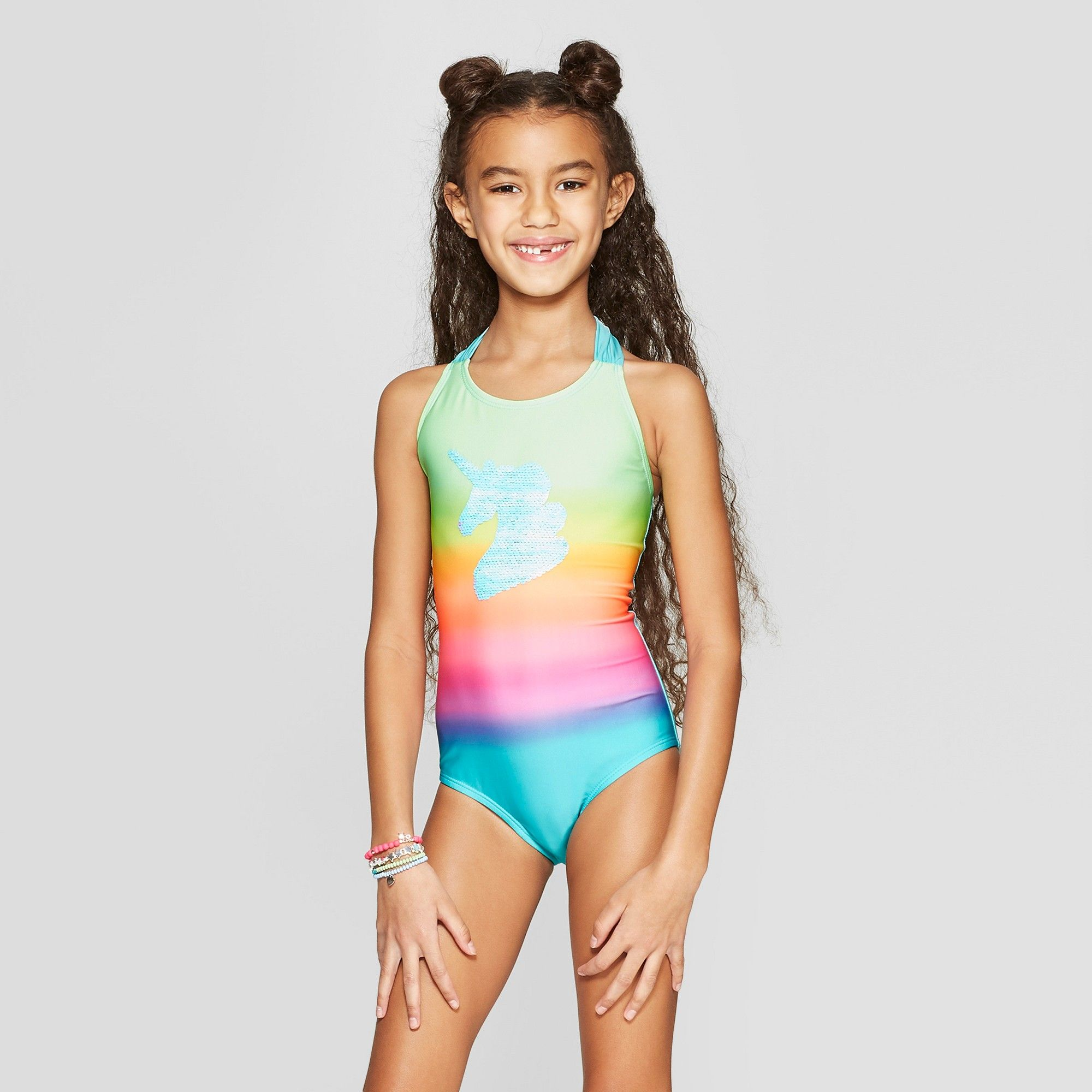 a9d6a25d83 Girls' Flip Sequins Time to Shine One Piece Swimsuit - Cat & Jack S,  Multicolored