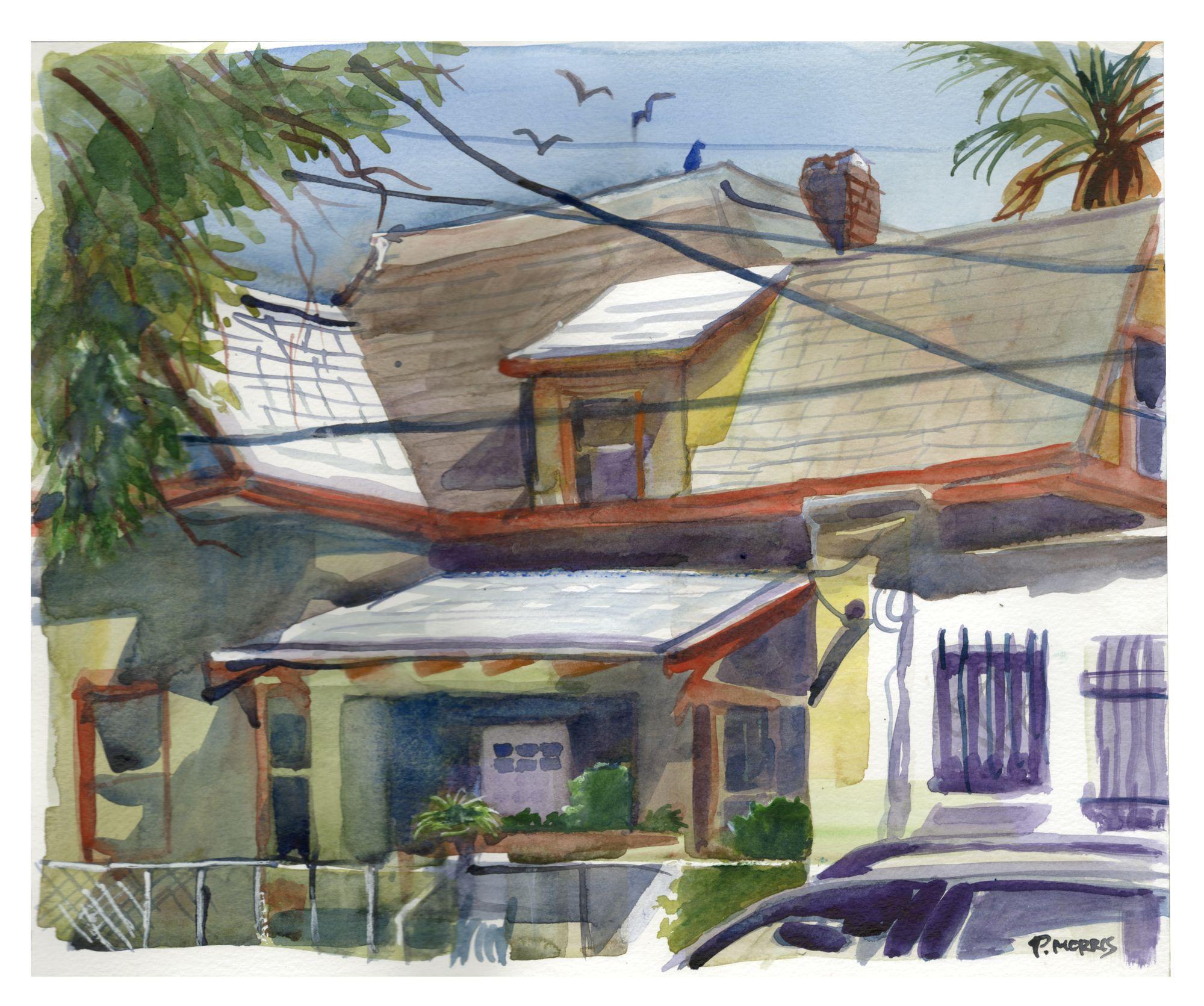 Pete Morris plein air painting of a house near Hoover Park