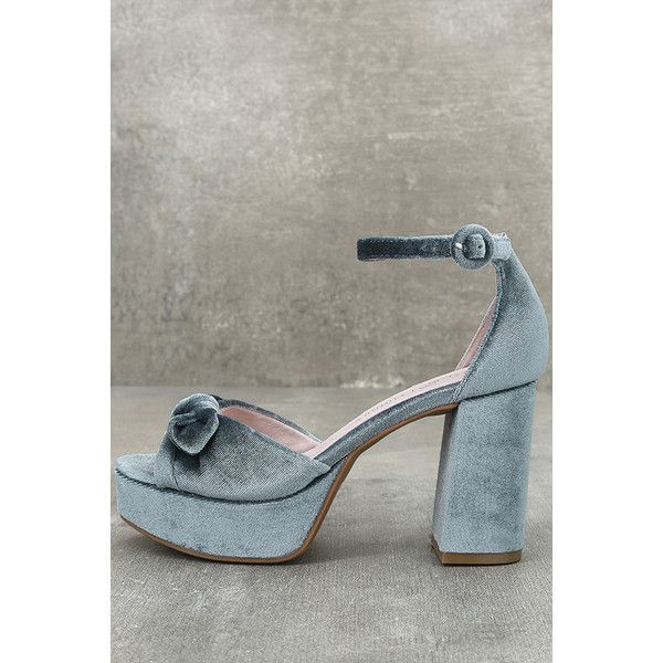 Chinese Laundry Tina Steel Blue Velvet Platform Heels 80