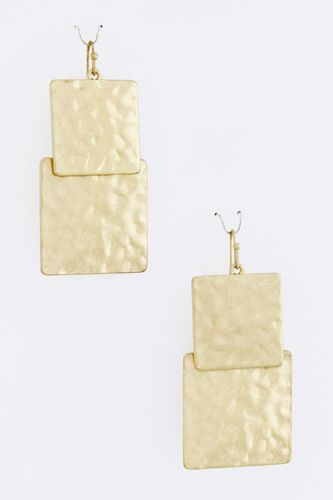 NEW Hammered Square Drop Earrings www.TheConsignmentBag.com Great deals delivered to your door Worldwide!