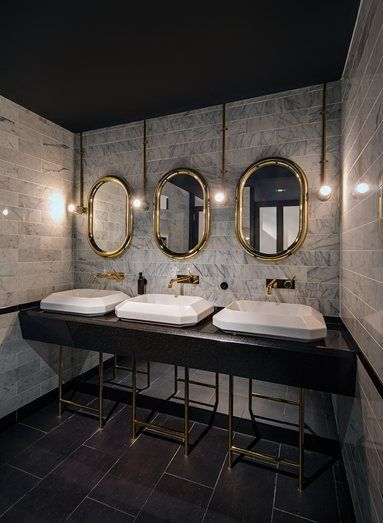 Commercial bathroom area with an industrial style