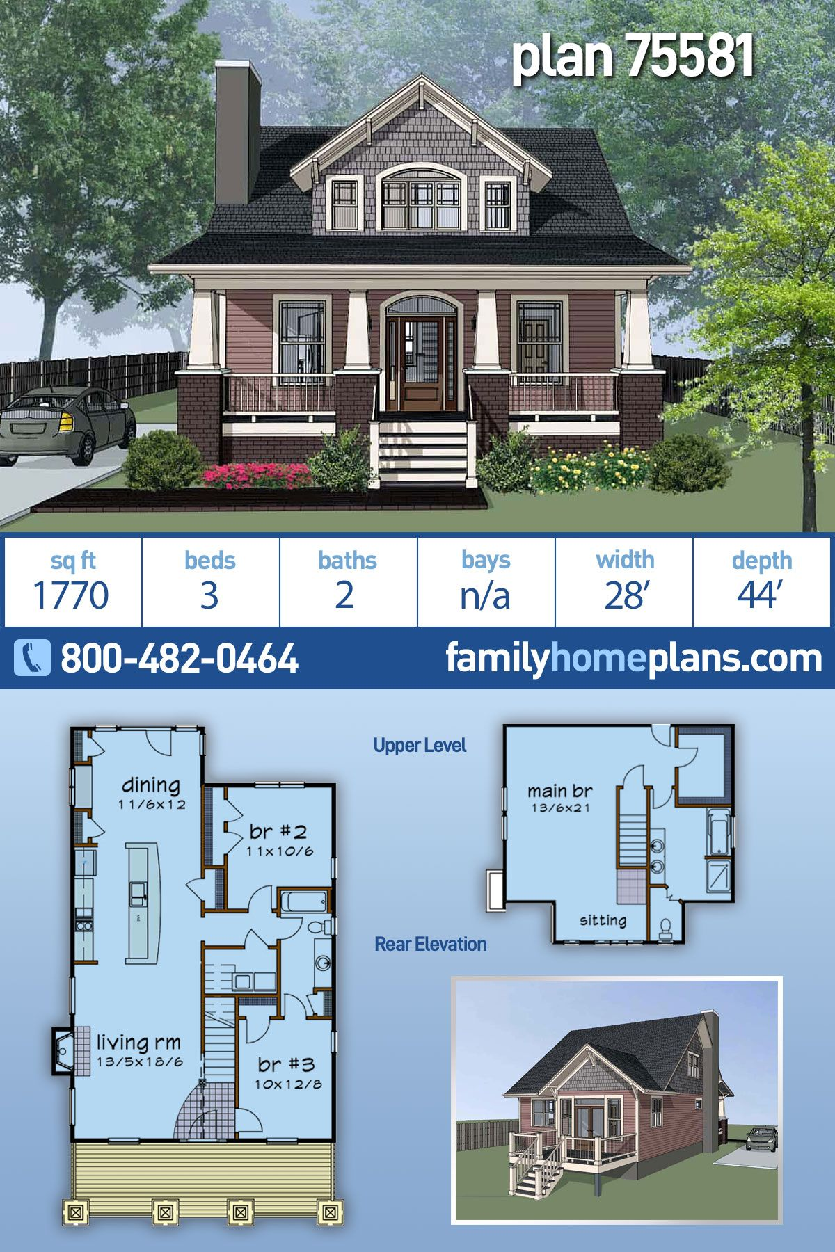 Narrow Lot Style House Plan 75581 With 3 Bed 2 Bath In 2020 House Layout Plans House Plans House