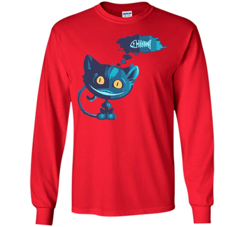 Creepy cat likes fish T-Shirt