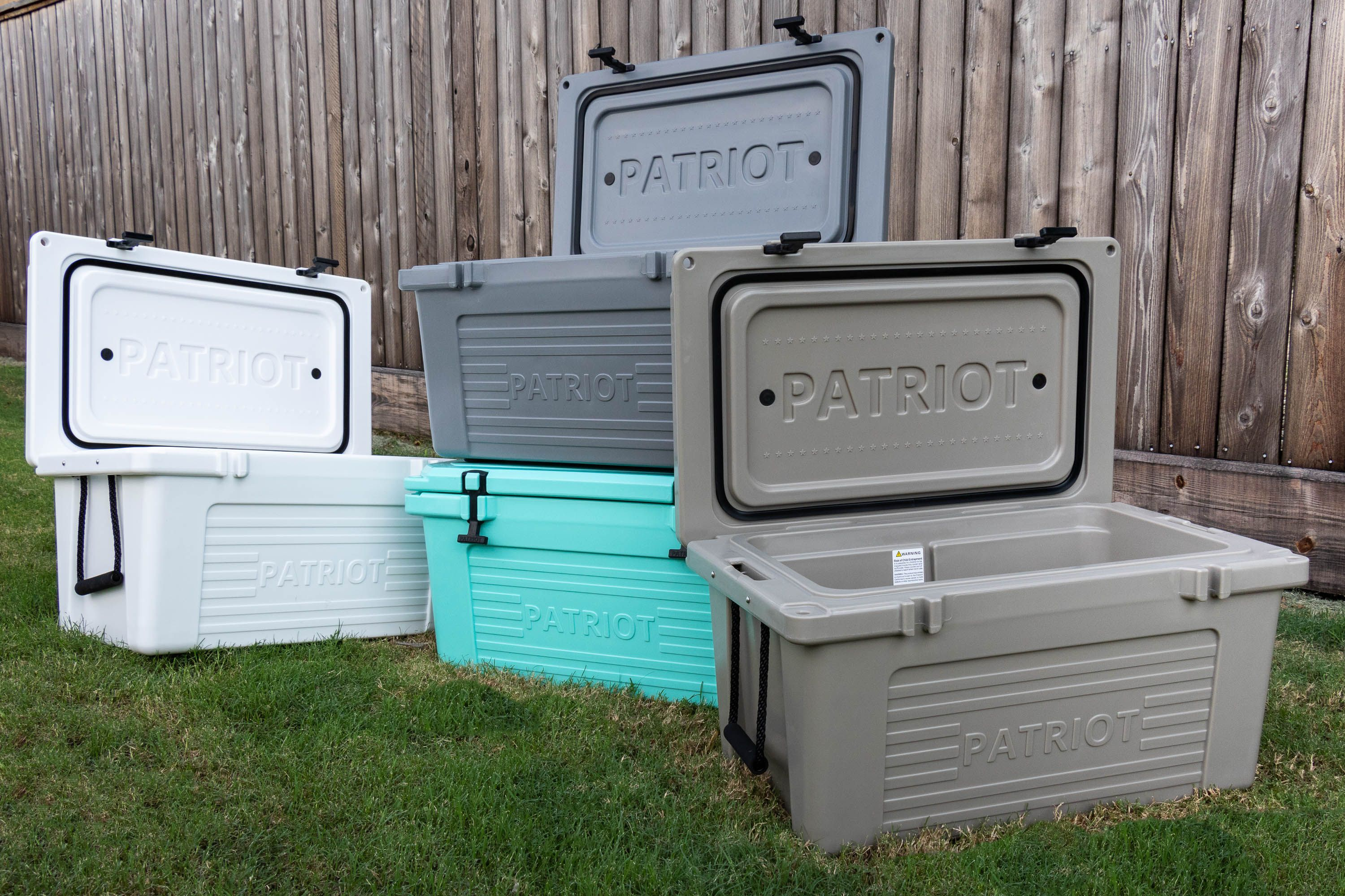 Our 45qt Patriot Coolers are available in 4 fabulous