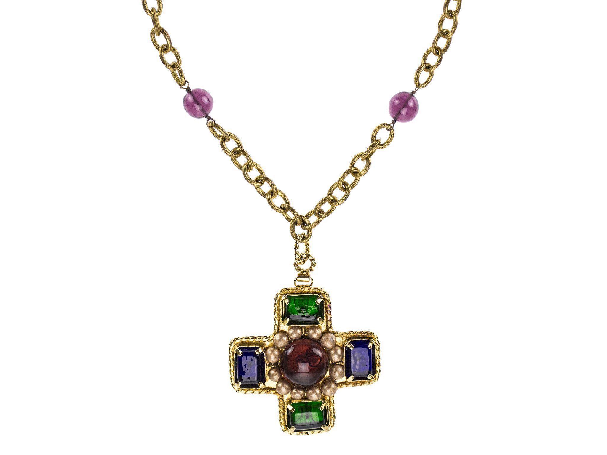 Chanel vintage purple gripoix cross pendant necklace jewelry chanel vintage purple gripoix cross pendant necklace aloadofball Choice Image