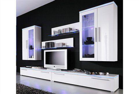 Wohnwand weiß, Mit Aufbauservice, Hochglanz, yourhome Jetzt - wohnzimmer wohnwand weiß