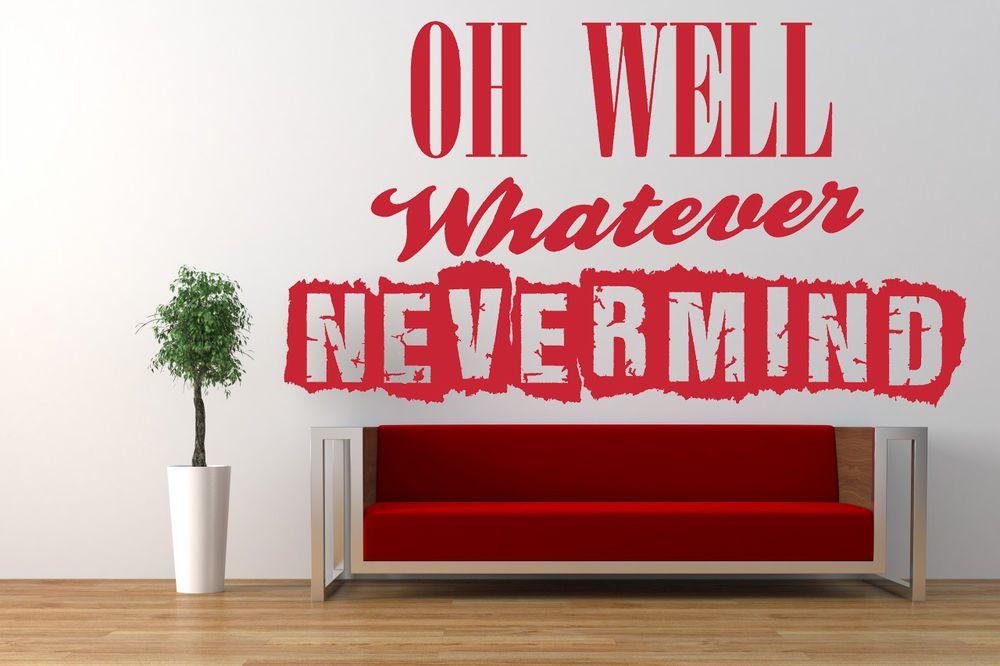 nirvana, nevermind song lyrics quote, vinyl wall art sticker, decal