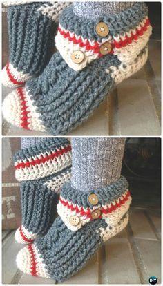 Crochet Sock Monkey Slippers Pattern - #Crochet Women #Slippers Free Patterns Clothing, Shoes & Jewelry - Women - women's slippers - http://amzn.to/2kQT8El