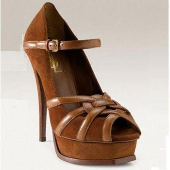 Yves Saint Laurent Tribute Suede Mary Jane platform peep toe pump