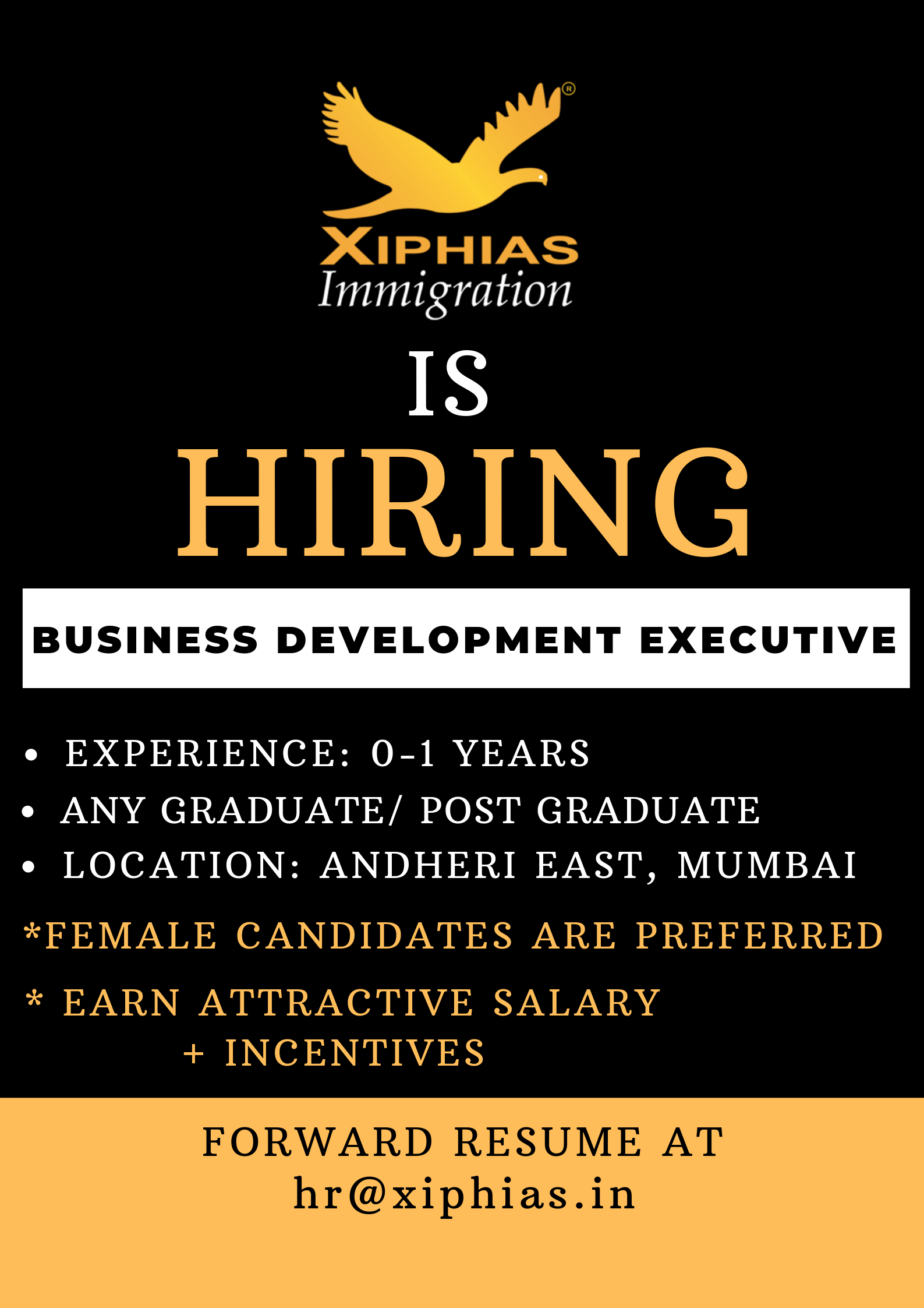 XIPHIAS is Hiring Business Development Executive Job