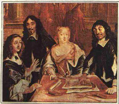 Descartes cercado por estudiosos e   admiradores (Modernismo)