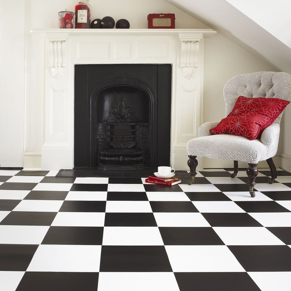 Monochrome vinyl for a striking and modern lounge monochrome urban definitely want black and white check floor in my arts and craft shed dailygadgetfo Choice Image