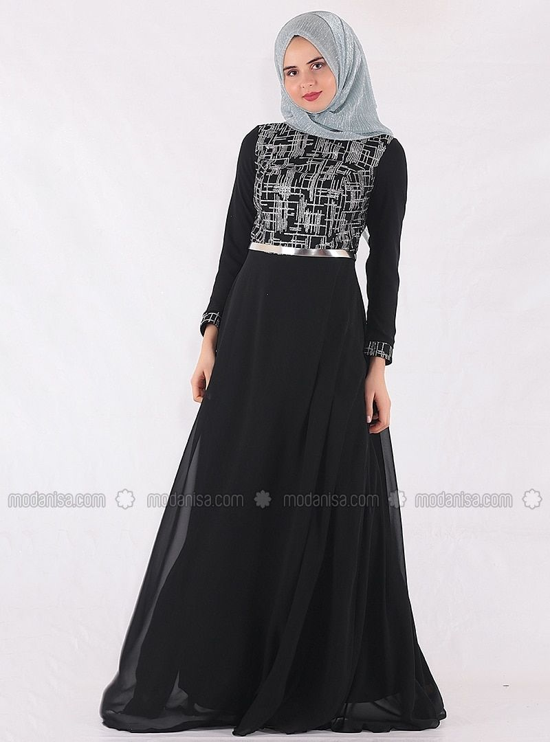 4444c5b8a515 The perfect addition to any Muslimah outfit, shop Mileny's stylish Muslim  fashion Black - Fully Lined - Crew neck - Muslim Evening Dress.