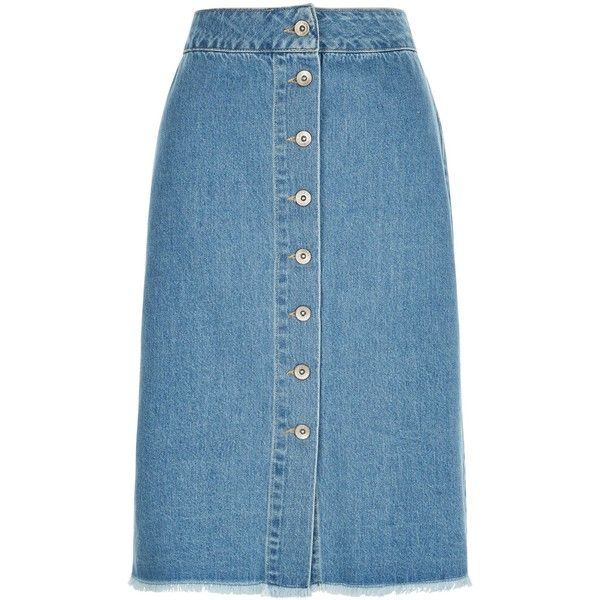 New Look Petite Blue Button Front Bleached Denim Midi Skirt (2.600 HUF) ❤ liked on Polyvore featuring skirts, faldas, pale blue, blue knee length skirt, midi skirt, blue midi skirt, mid calf skirts and blue skirt