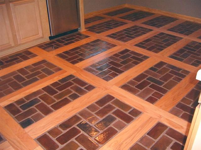 Wood brick inlay floors for the entryway leading into for Brick kitchen floor ideas