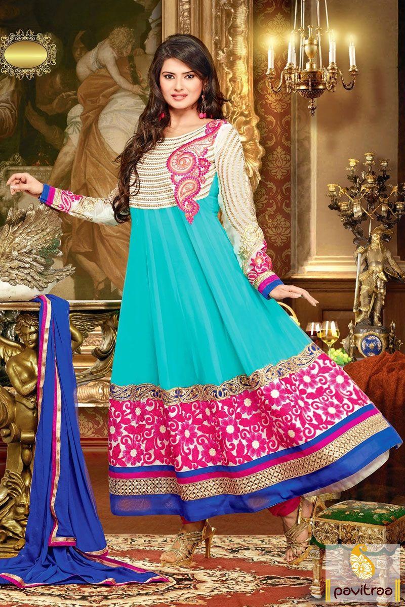 Pavitraa Kratika Sengar Ice Blue, Cobalt Blue Anarkali Dress Rs ...