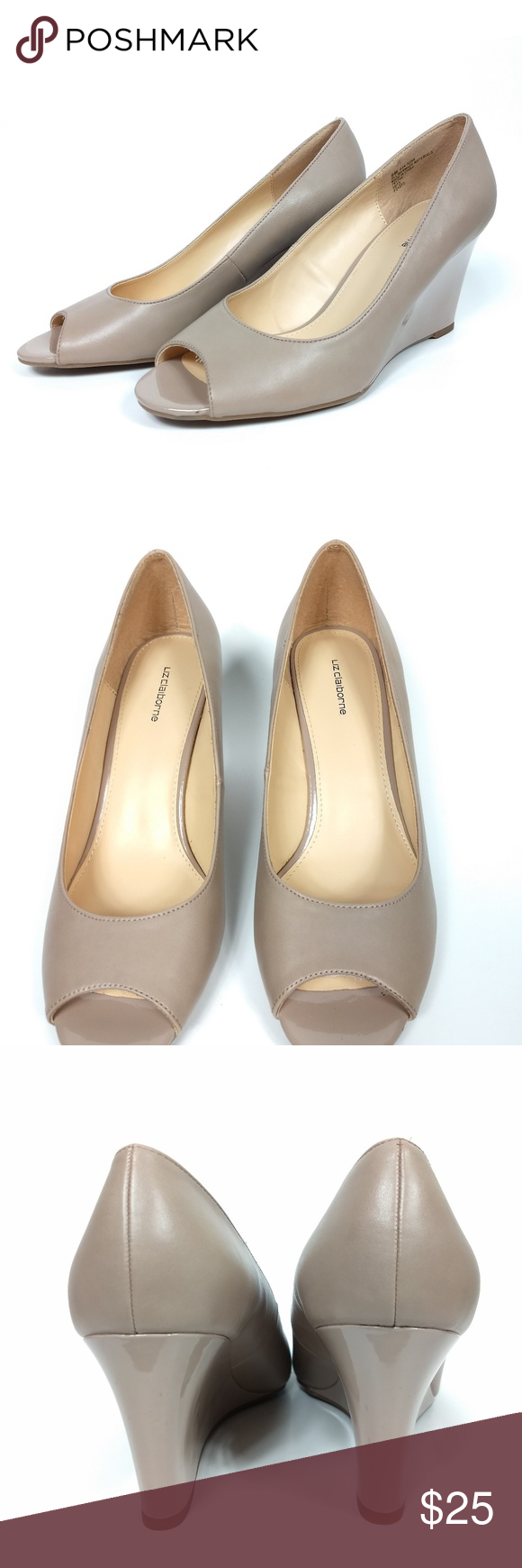 1489682bc8 Liz Claiborne open toe wedges beige 9M new w/o box Liz Claiborne paula peep-toe  wedge pumps. Add a little flair to your work-to-weekend wardrobe with our  ...