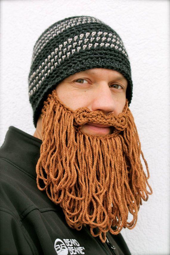 long beard hat The Original Beard Beanie™ -shaggy- dark gray striped ...
