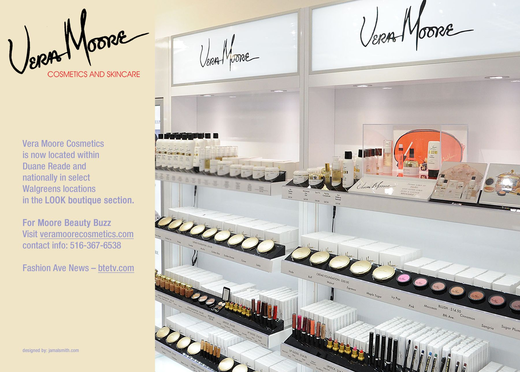 Vera Moore Cosmetics Located At The New Upscale Duane Reade Stores In Nyc In The Lookboutique Section Retail Interior Design Vintage Salon Sephora Favorites