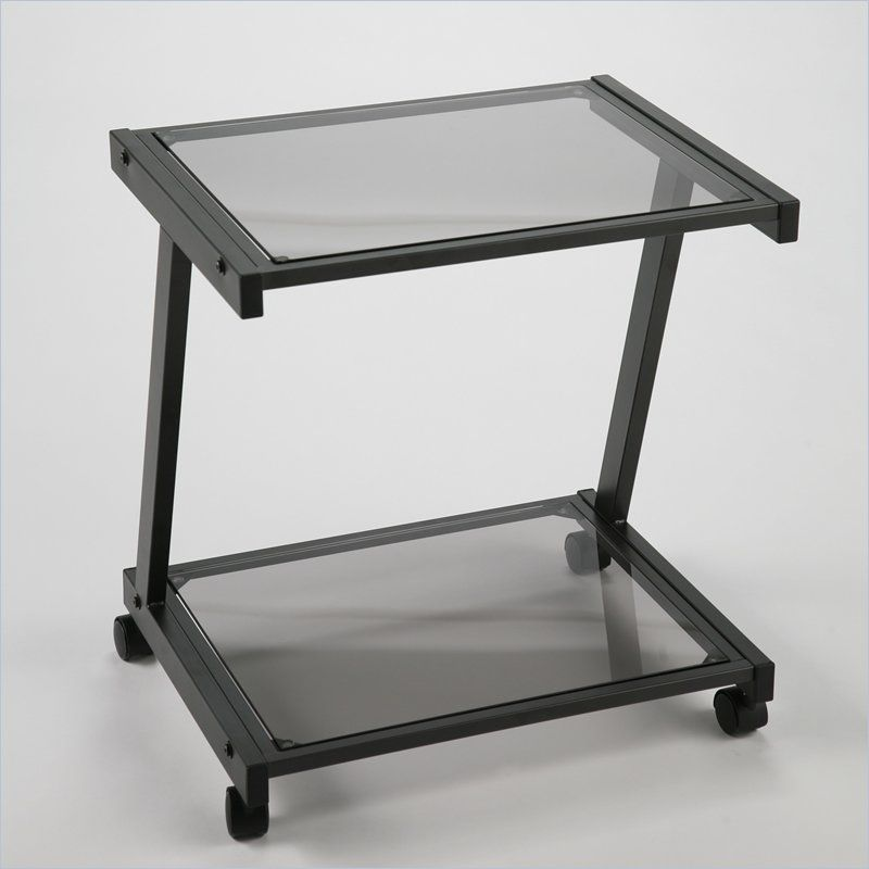 Eur Style L Smoked Glass Top Mobile Printer Cart, Graphite Black Steel  Frame 27726