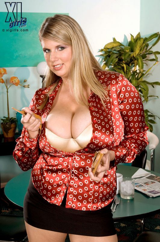 Bbw in white satin blouse