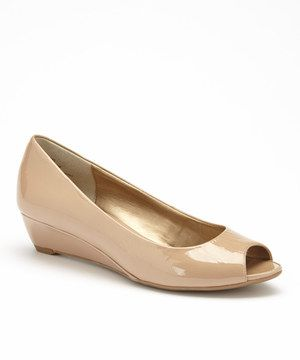09d28e87448c Need nude patent peep toe wedge !! Patent Peep-Toe Kitten Heel by Me Too is  perfect!  zulilyfinds