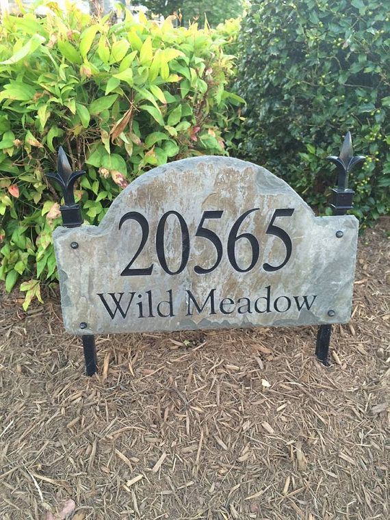 Stone Address Marker Plaque/ Lawn Stake / CARVED Arched Slate / Sign /  Plaque /