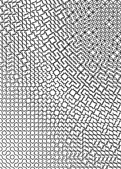 Mathematica code:Tile[k_, rx_, ry_, x_, y_, r_] := Table[ Translate[ Rotate[ {AbsoluteThickness[k], Circle[{i, i}, {rx, ry}, {i*Pi in Digital