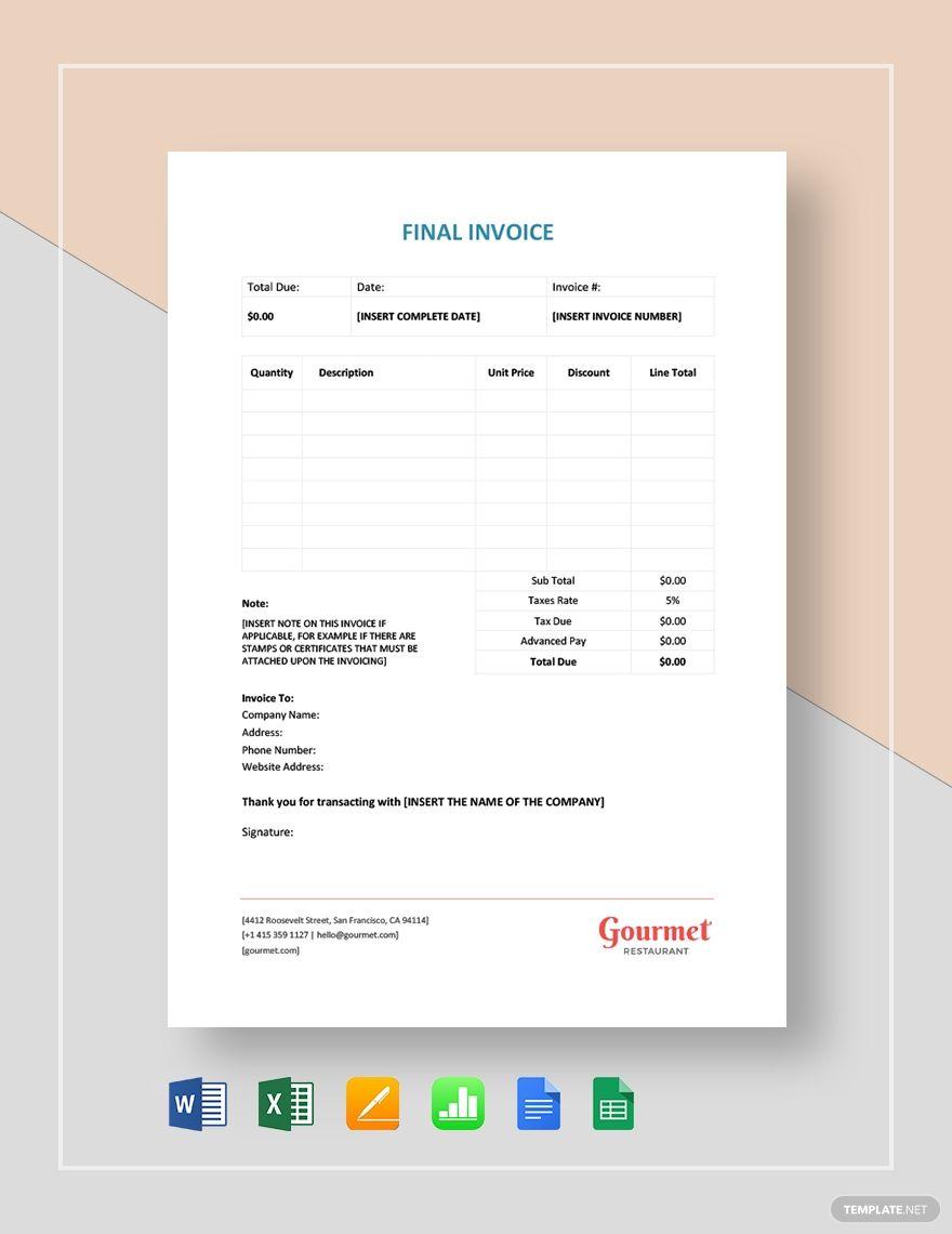 Final Invoice Template Free Pdf Google Docs Google Sheets Excel Word Template Net Invoice Template Templates Google Sheets
