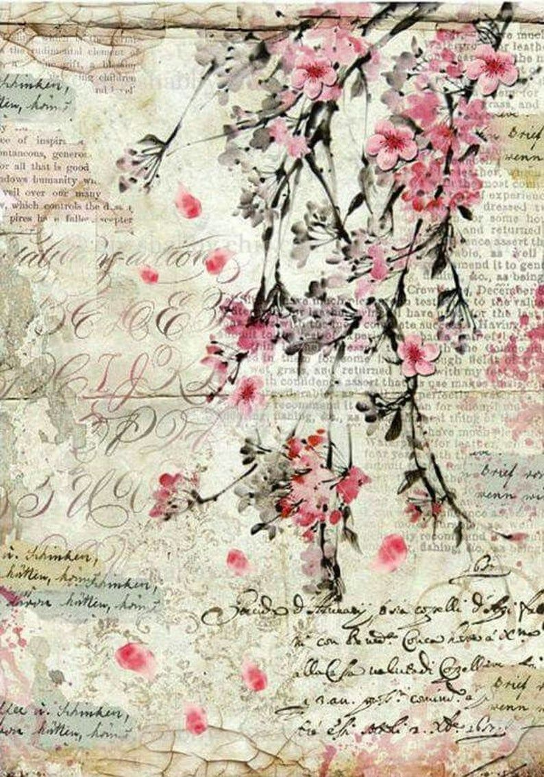 Photo of Furniture decals shabby chic french image transfer vintage Antique cherryblossom home Craft label script crafts scrapbooking card making Diy