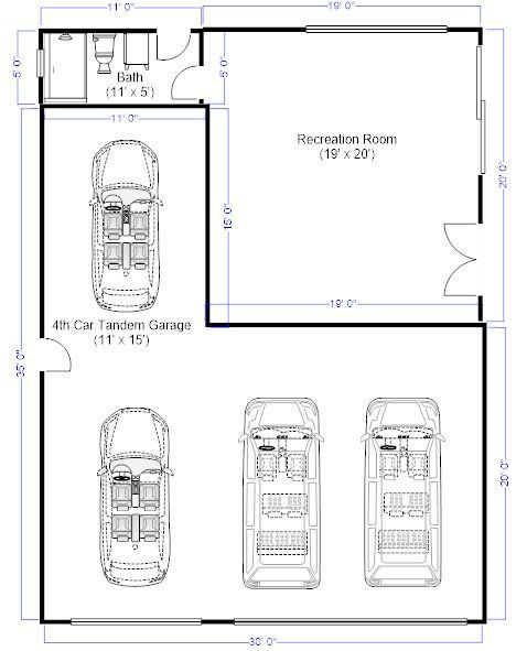 3 Car Tandem Garage Dimensions Google Search Tandem Garage Garage Dimensions Garage Plans With Loft