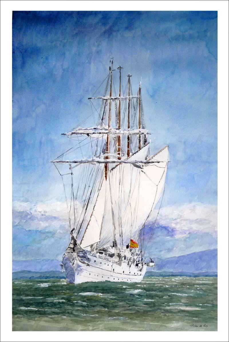 Cuadro en acuarela del buque Juan Sebastián Elcano | El artista ...