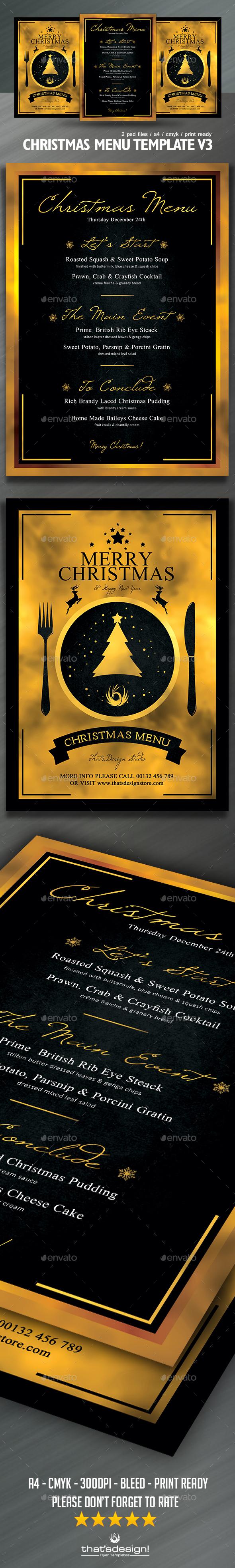 Christmas Menu Template V  Menu Templates Menu And Flyer Template