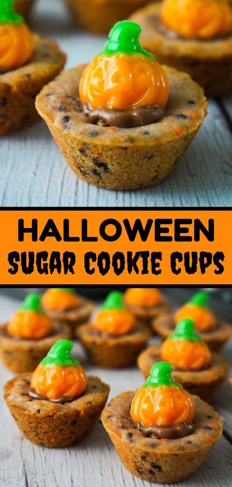 Halloween Sugar Cookie Cups are an easy dessert recipe your kids