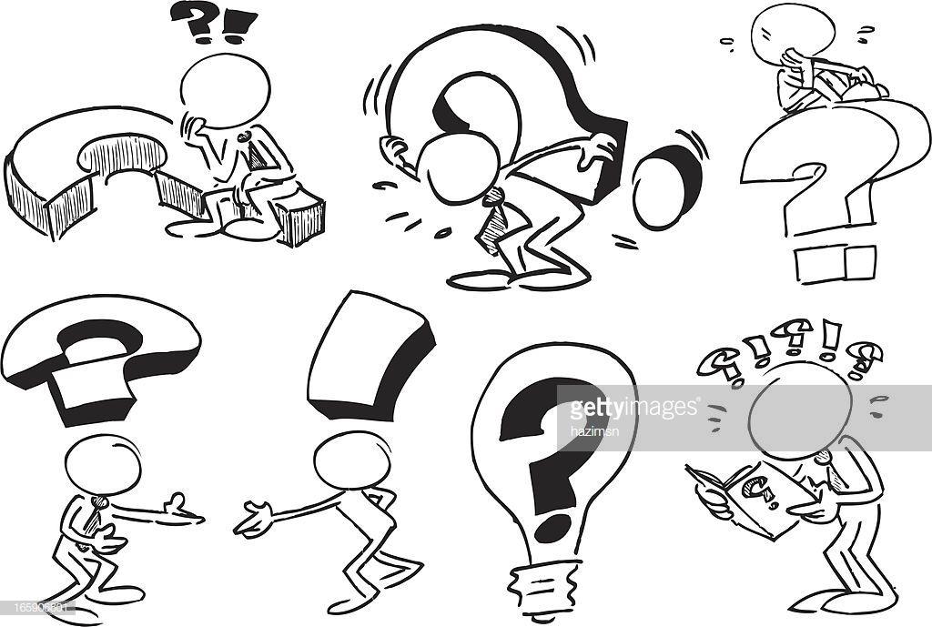 Arte Vectorial Rostro De Caracteres Con Preguntas Dibujo De Personajes Rostros Caricatura Hojas De Trabajo De Arte