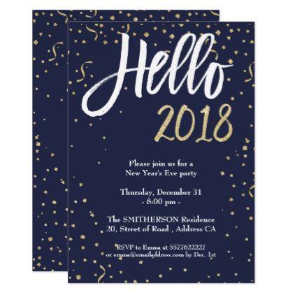 modern confetti gold hello 2018 new year eve party card invitations custom unique diy personalize occasions