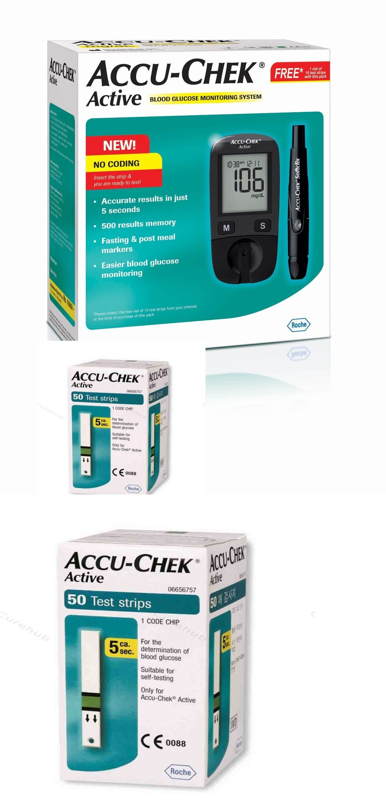 Monitoring Kits Accu Chek Active Blood Glucose System Strip With Free 10 And 50