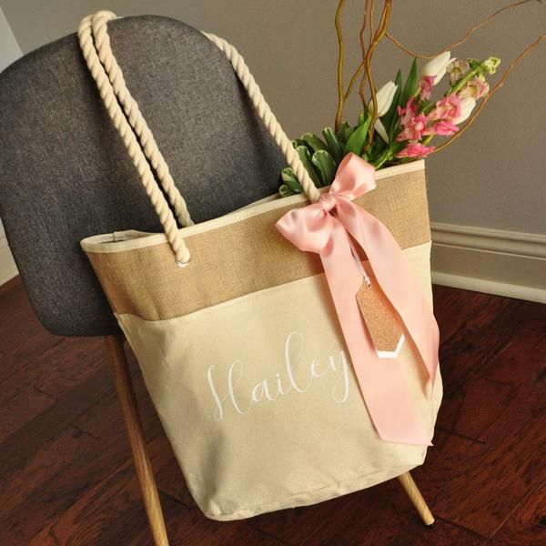 Bridesmaid Beach Bag In Natural Color Quantity 1 Personalize Beach Tote Bag Bridesmaid Gift Ideas Wedding Party Gift N19bt Bridesmaid Gift Bags Wedding Gift Bags Gifts For Wedding Party