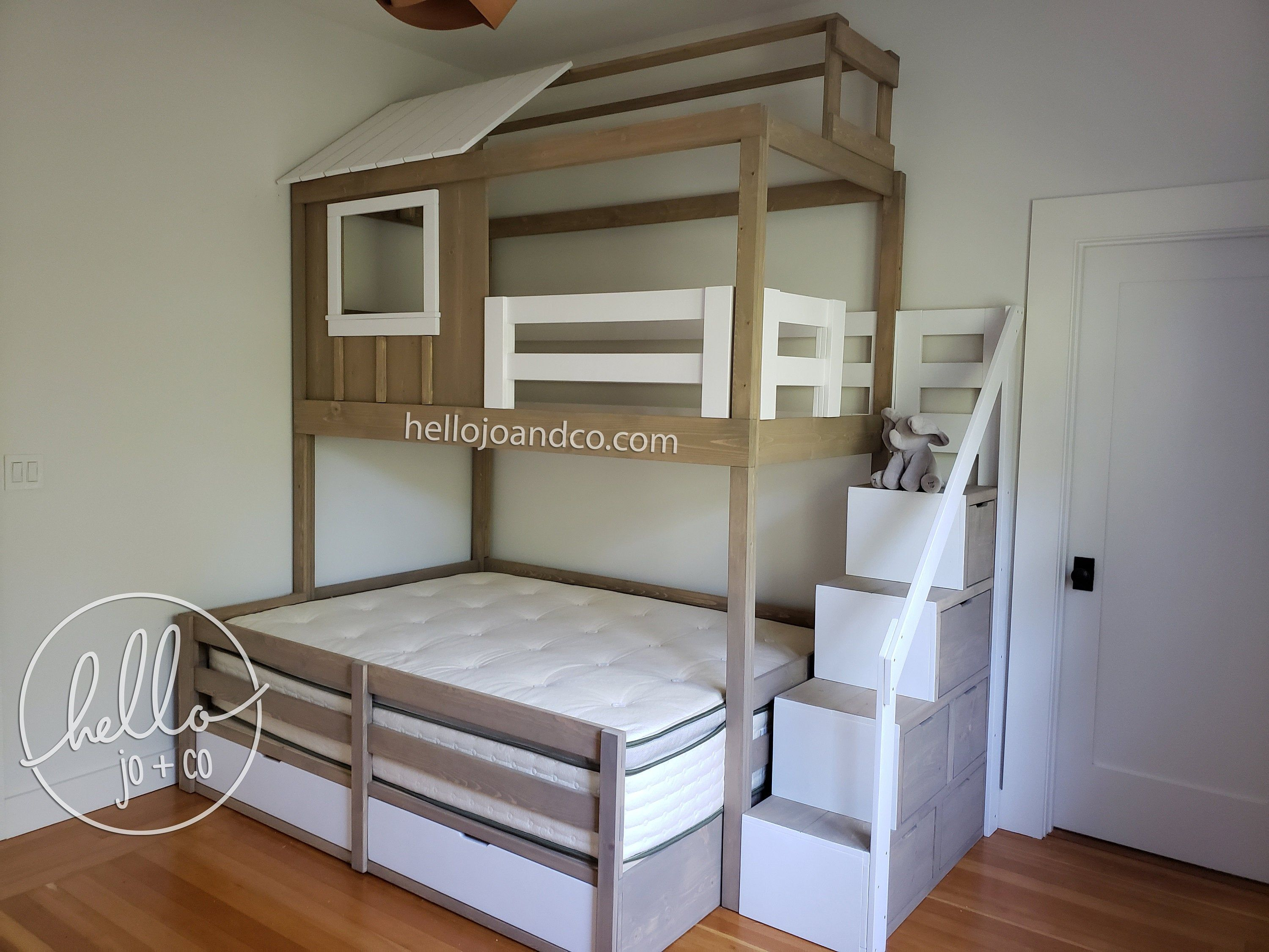 Solid Wood Loft Bed Bunk Bed Bunk Bed With Stairs Etsy Bunk Beds With Stairs Bunk Beds Loft Bed