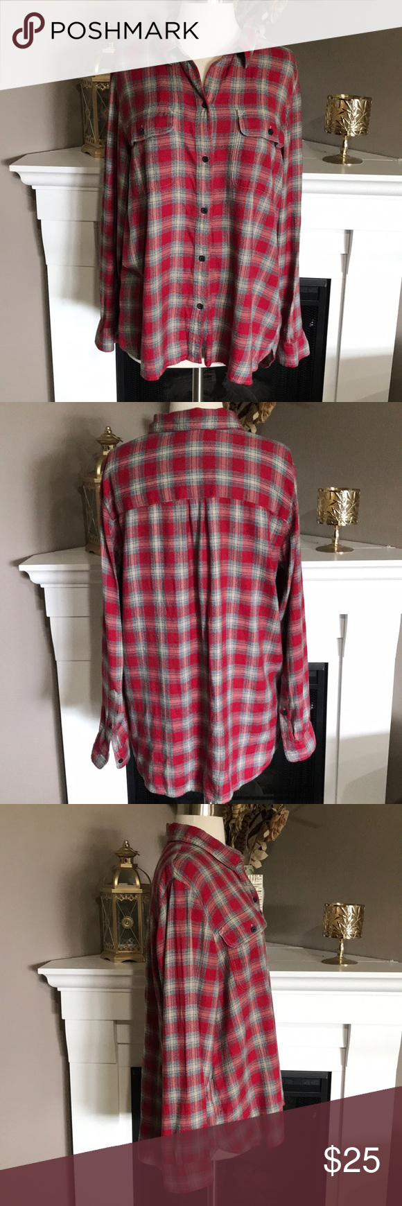 Red flannel backpack  Madewell RedTan Oversized Flannel Shirt  Oversized flannel