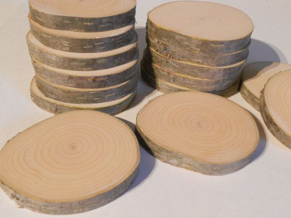 15 Birch Wood Slices 3 To 3 5 Log Slices By Nazarethwoodcreation Wood Slices Birch Wood Log Slices