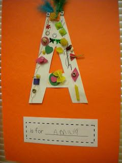 Goes with book alphabet under construction. Decorate first letter of their name.