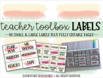"""EDITABLE Paint Teacher Toolbox Labels This product is perfect for every room because the """"Teacher Toolbox"""" is super popular right now! Grab this set that contain 50 pre-made labels and then an editable powerpoint if you need specific things for your own room!"""